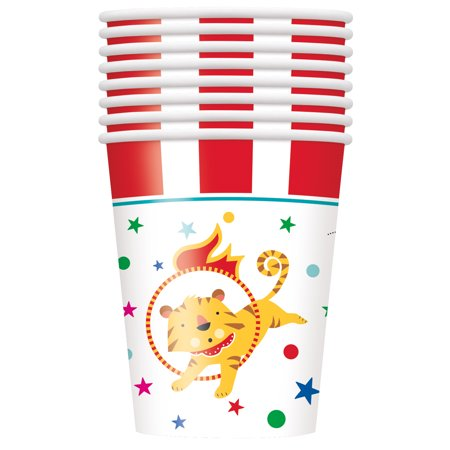 Circus Carnival Paper Cups, 9 oz, 8ct