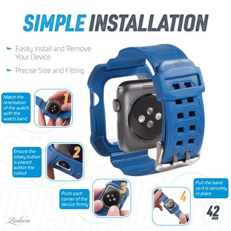 42mm Apple Watch Band by Zodaca Rugged Protective Watch Band Replacement Strap For Apple Watch Series 1/2/3 42mm - Blue/White - image 3 de 7
