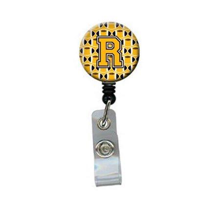 Carolines Treasures CJ1080-RBR Letter R Football Black, Old Gold & White Retractable Badge Reel