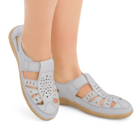 Laser Cut Out Cushioned Slip-On Shoes with Skid-Resistant Soles, Easy-Touch Strap Closure, 7,