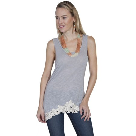 01be6df1 Scully - Scully Western Shirt Womens Lace Sleeveless Solid Tank Top E285 -  Walmart.com
