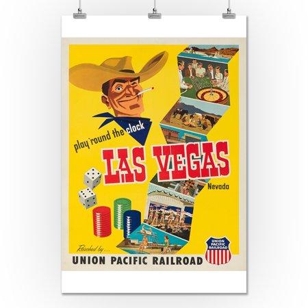 Union Pacific - Las Vegas, Nevada Vintage Poster USA c. 1952 (24x36 ...