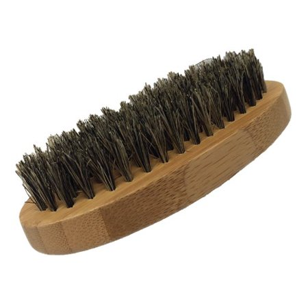 Bamboo Brush - GBS Men's Beard Brush - Oval Military Style Bamboo Wood Handle with Boar Bristles