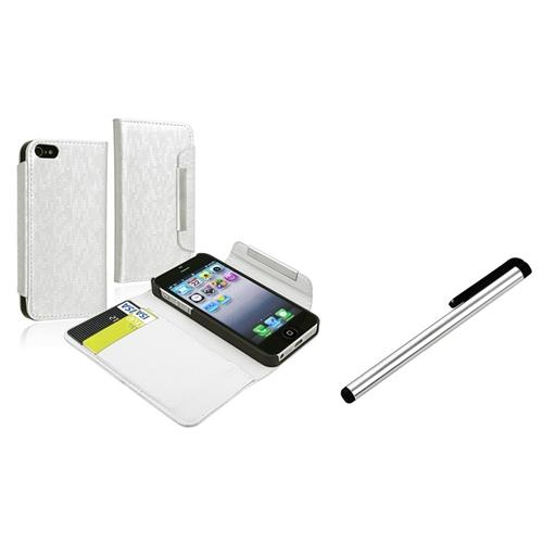 INSTEN For iPhone 5 Wallet Leather Case w/ Card Holder, White+Stylus