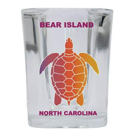 BALD HEAD ISLAND Square Shot Glass Rainbow Turtle