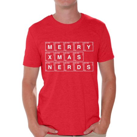 Awkward Styles Merry Xmas Nerds Tshirt Christmas Periodic Table Shirt Xmas Elements Tshirt Ugly Christmas T Shirt for Men Funny Xmas Chemistry Gifts Geeky Christmas T-Shirt Xmas Party Outfit - Nerd Shirts For Halloween