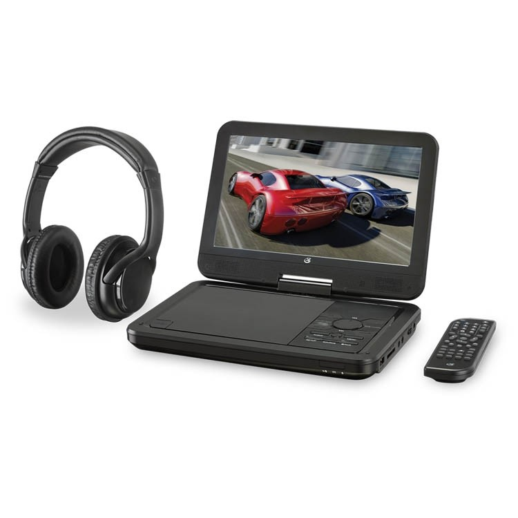 "GPX 10.1"" Bluetooth DVD Player with Wireless Headphones, PDB1077B"