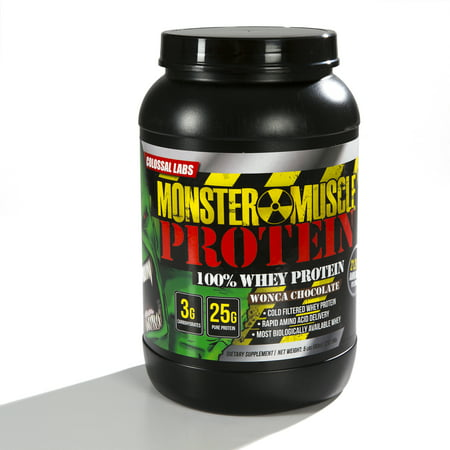 Colossal Labs Monster Muscle Protein   100  Cold Filtered Whey Protein   Rapid Amino Acid Delivery   Natural Coco For A Rich Chocolate Flavor   Tub Weighs 5 Pounds  Contains 68 Servings
