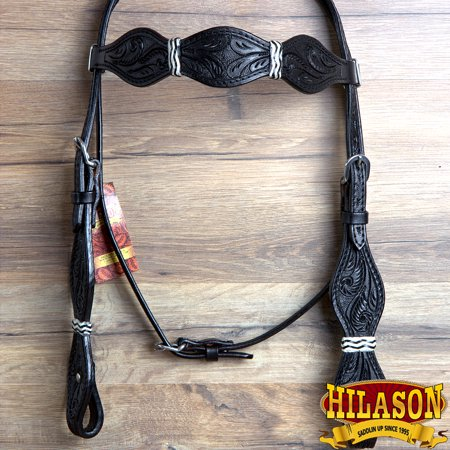 - Hilason American Leather Horse Bridle Headstall Black Rawhide Braided