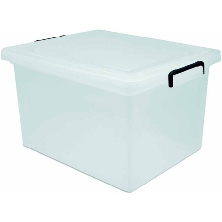 IRIS Letter and Legal Size Hanging File Storage Box with Buckles, Clear ()