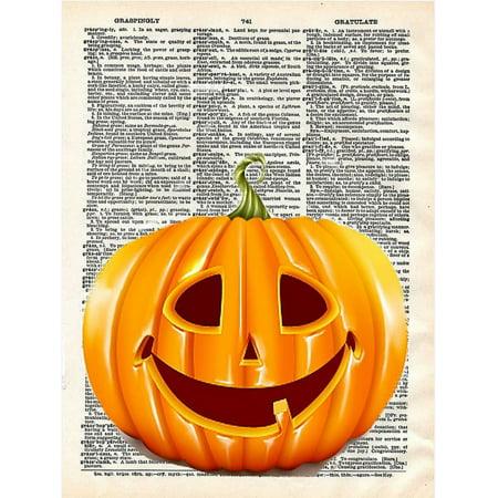 Pop Art Halloween Look (Art N Wordz Orange Halloween Pumpkin Original Dictionary Sheet Pop Art Wall or Desk Art Print)