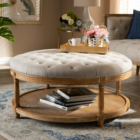 Baxton Studio Ambroise French Provincial Beige Linen Fabric Upholstered and White-Washed Oak Wood Button-Tufted Cocktail Ottoman with Shelf