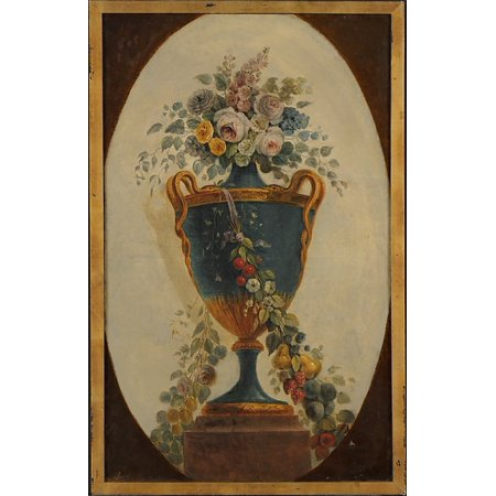 Vase Of Flowers Draped With Garlands Poster Print By French Painter  18Th Century  18 X 24