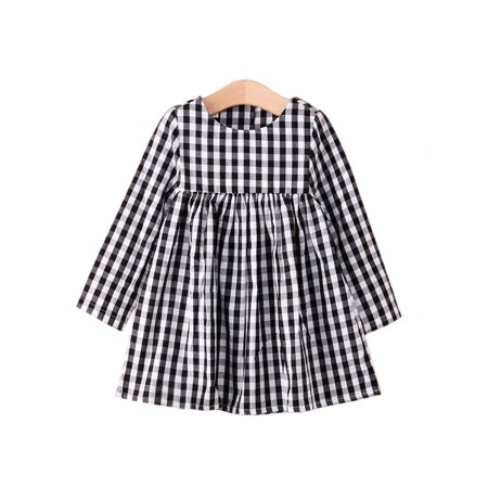 StylesILove Little Girl Checkered Tunic Dress, Black and White (3-4 Years) - Black And White Dresses Girls