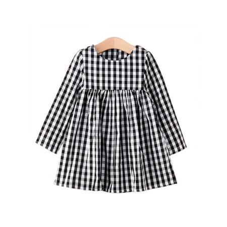 StylesILove Little Girl Checkered Tunic Dress, Black and White (3-4 Years)](White Little Girl Dresses)