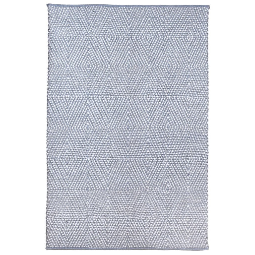 Fab Habitat Indo Hand-woven Zen Eventide Blue/ Bright White Contemporary Geometric Area Rug (8' x 10')