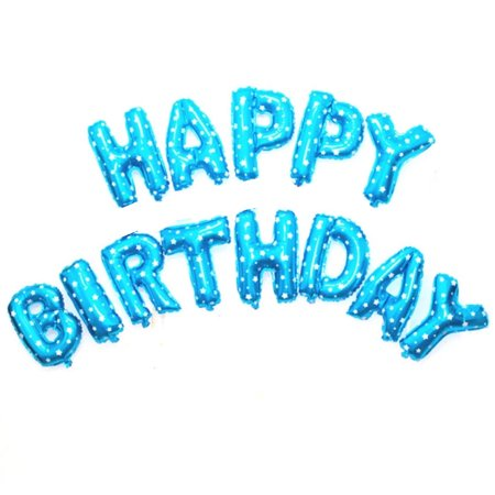 The Elixir Party Happy Birthday Balloons Banner, Foil Balloons Letters Balloons for Birthday Party Decoration, Sky - Happy Birthday Fisherman