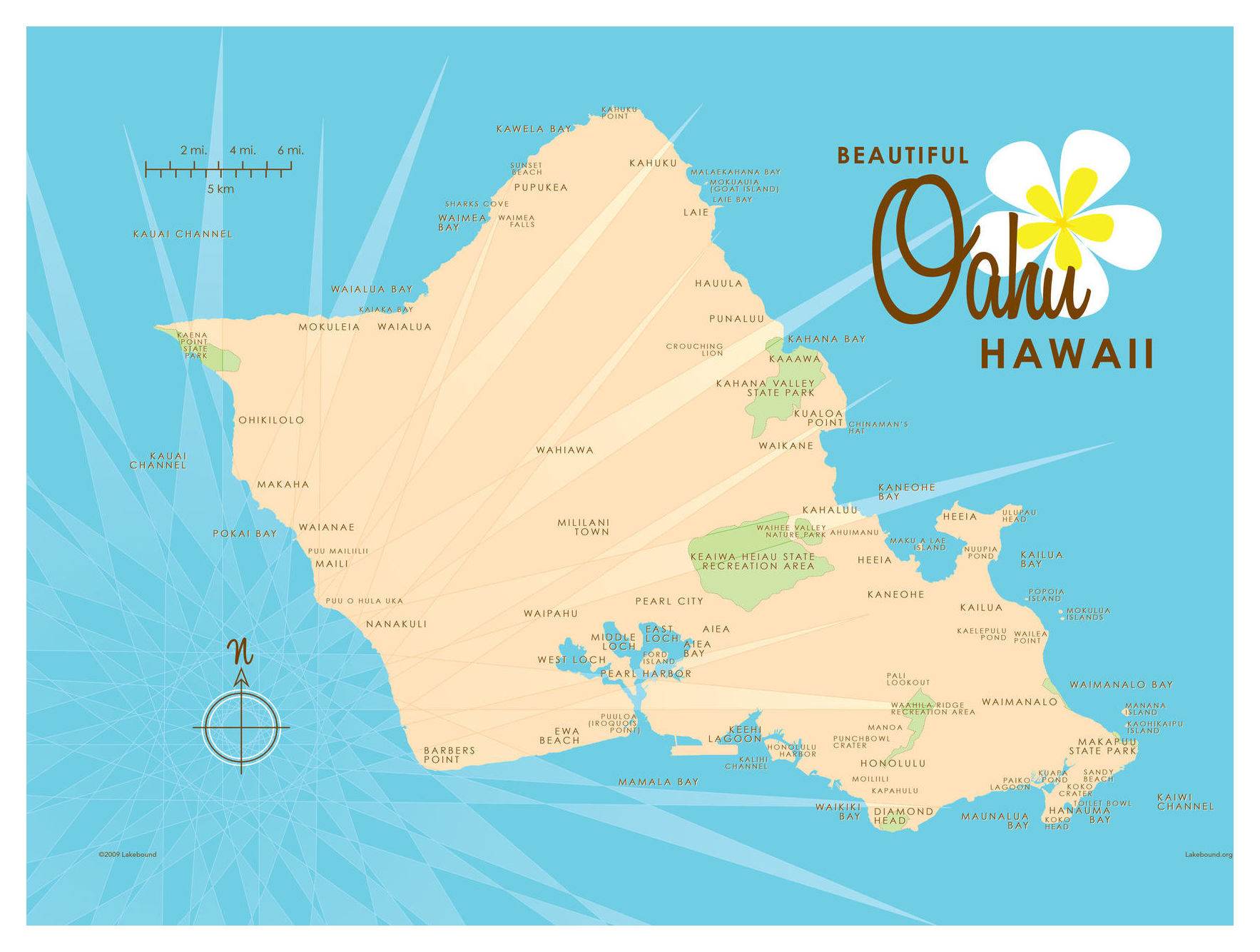 graphic regarding Printable Map of Oahu identified as Oahu Blue Map Common-Design and style Artwork Print via Lakebound (18\