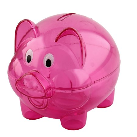 Home Plastic Pig Shape Money Saving Holder Coin Storage Pot Piggy Bank Fuchsia (Plastic Piggy Bank)