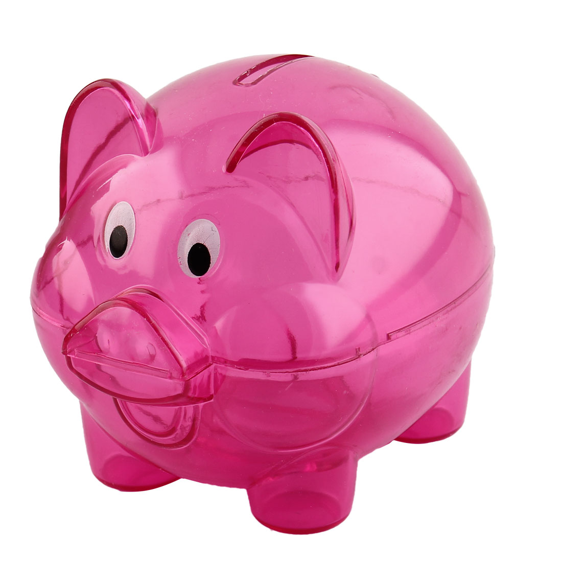 Home Plastic Pig Shape Money Saving Holder Coin Storage Pot Piggy Bank Fuchsia