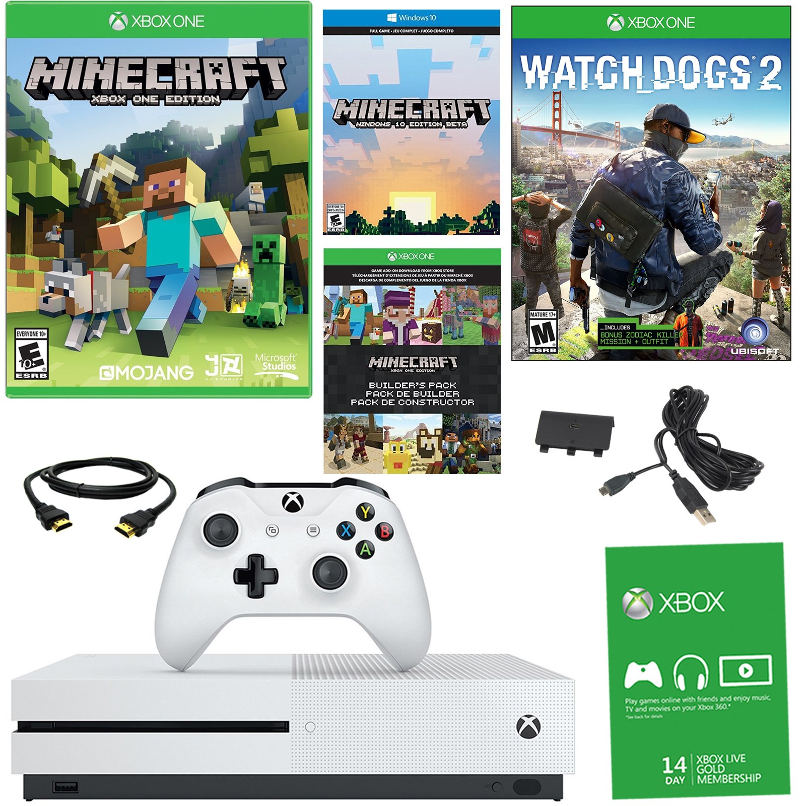 Xbox One S 500GB Minecraft Bundle With Watch Dogs 2  Battery Pack En Veo y Compro