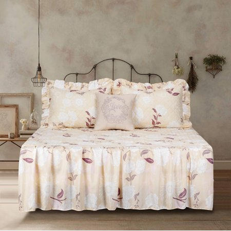 Floral Flowers Ruffle Twin Quilt Bedspread Bedding Set with Embroidered Pillow - Pastel Floral Quilt
