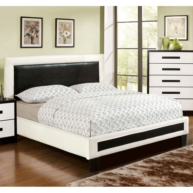 Braxton Contemporary Leatherette Platform Bed - Black/White