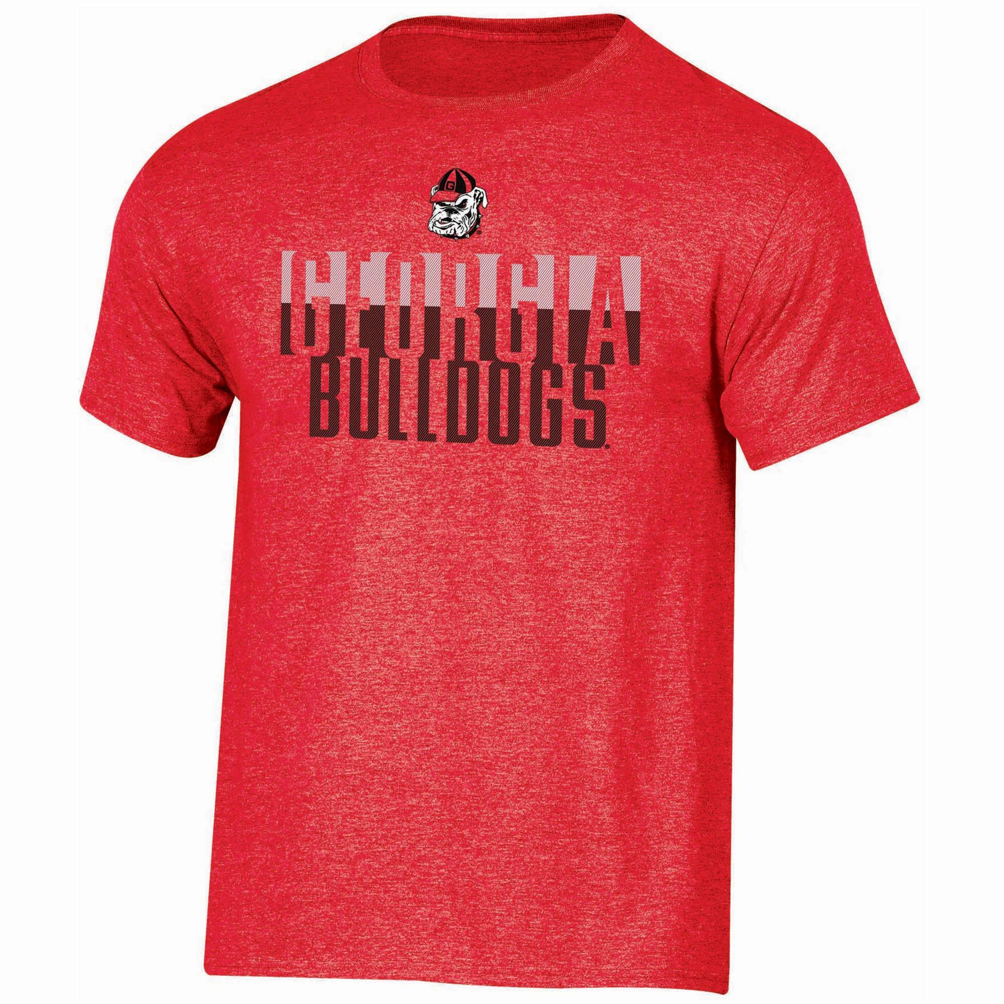 Men's Russell Red Georgia Bulldogs Textured Trend Crew Neck T-Shirt