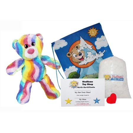 Make Your Own Stuffed Animal 16 Inch Bubble Gum Bear - No Sew - Kit With Cute Backpack!