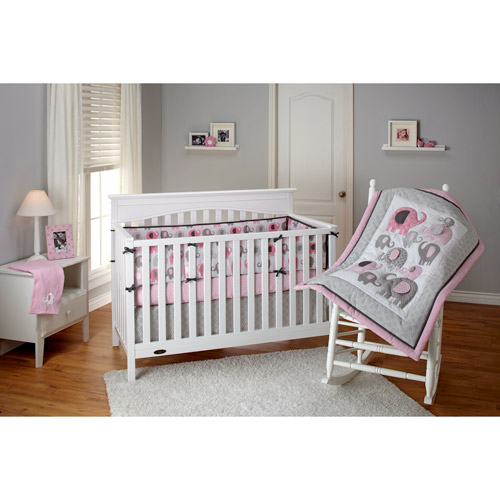 Little Bedding by NoJo Elephant Time 3-Piece Crib Bedding Set, Pink with BONUS Bumper