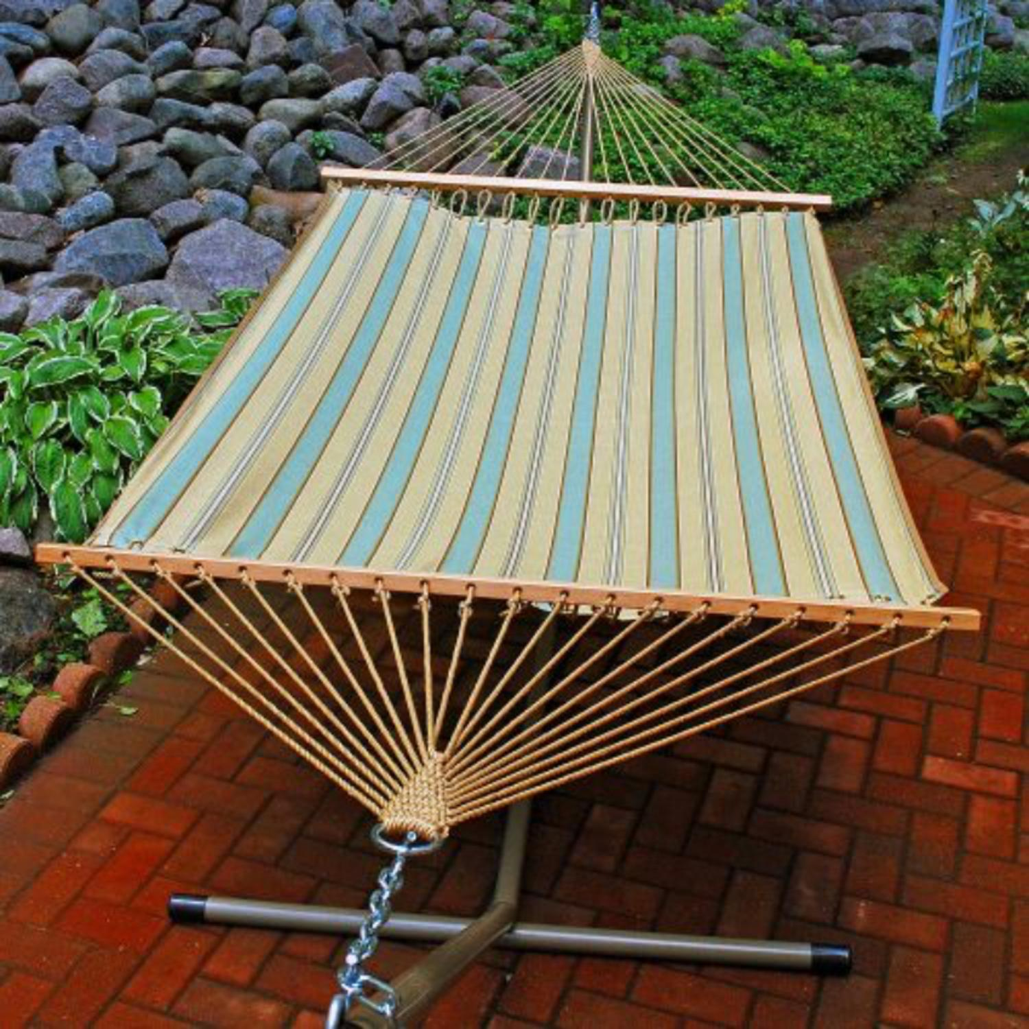 "80"" x 52"" Weather Resistant Crestwood Spa Blue Stripe 2-Point Double Hammock"