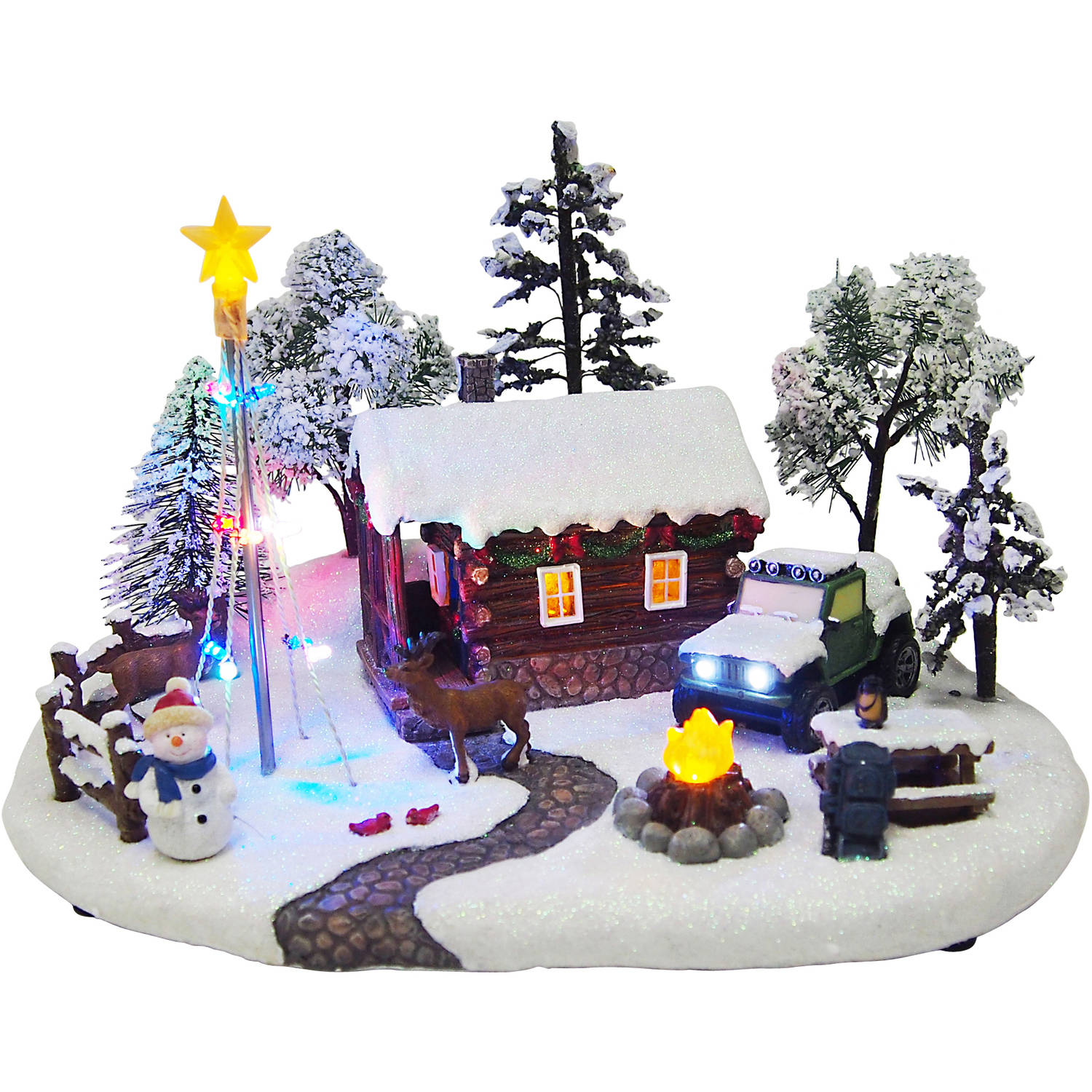 holiday time christmas village 8 battery operated light up hunting lodge walmartcom - Battery Operated Christmas Decorations