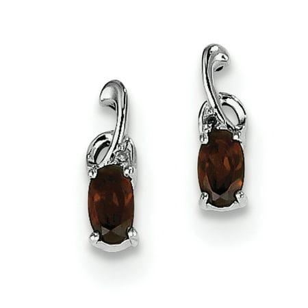 Sterling Silver Rhodium Plated Diamond Garnet Oval Post Earrings QE9969GA - image 2 de 2