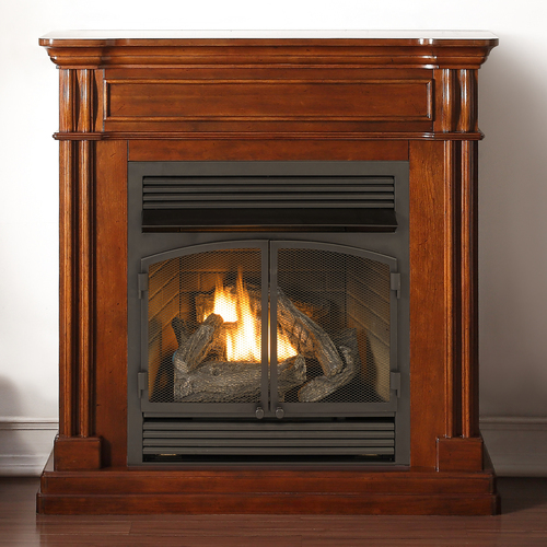 Duluth Forge Dual Fuel Ventless Fireplace - 32,000 BTU, T-Stat Control, Autumn Spice