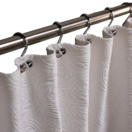 Peacock Alley Luxury Bed Linens Vienna 100 Percent Cotton Shower Curtain White