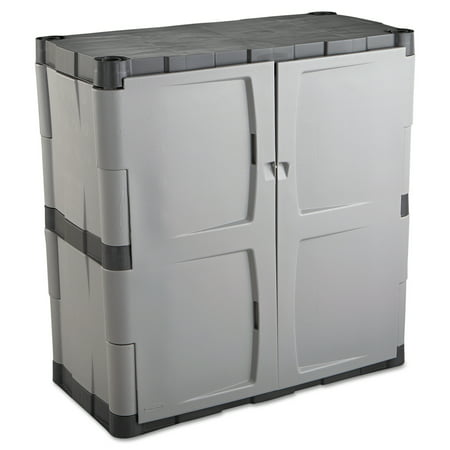 Rubbermaid Double-Door Storage Cabinet - Base, 36w x 18d x 36h, Gray/Black