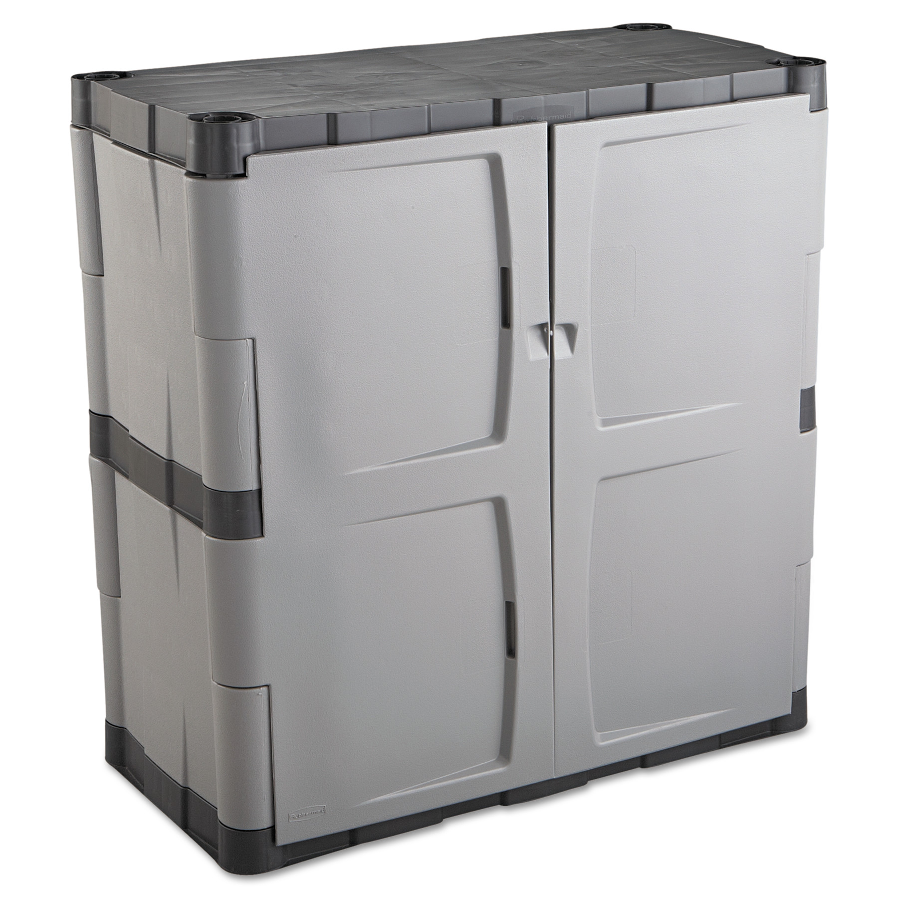 rubbermaid doubledoor storage cabinet base 36w x 18d x 36h gray