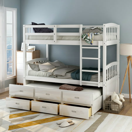 Harper & Bright Designs Twin over Twin Wood Bunk Bed with Trundle and Drawers, White ()