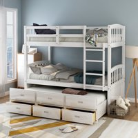 Harper & Bright Designs Twin over Twin Wood Bunk Bed with Trundle and Drawers, White