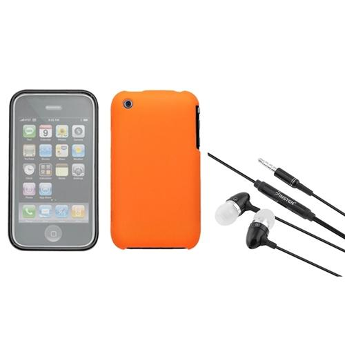 Insten Orange Phone Case (with Lens) (WL-SO207) For iPhone 3G/3GS + 3.5mm Headset