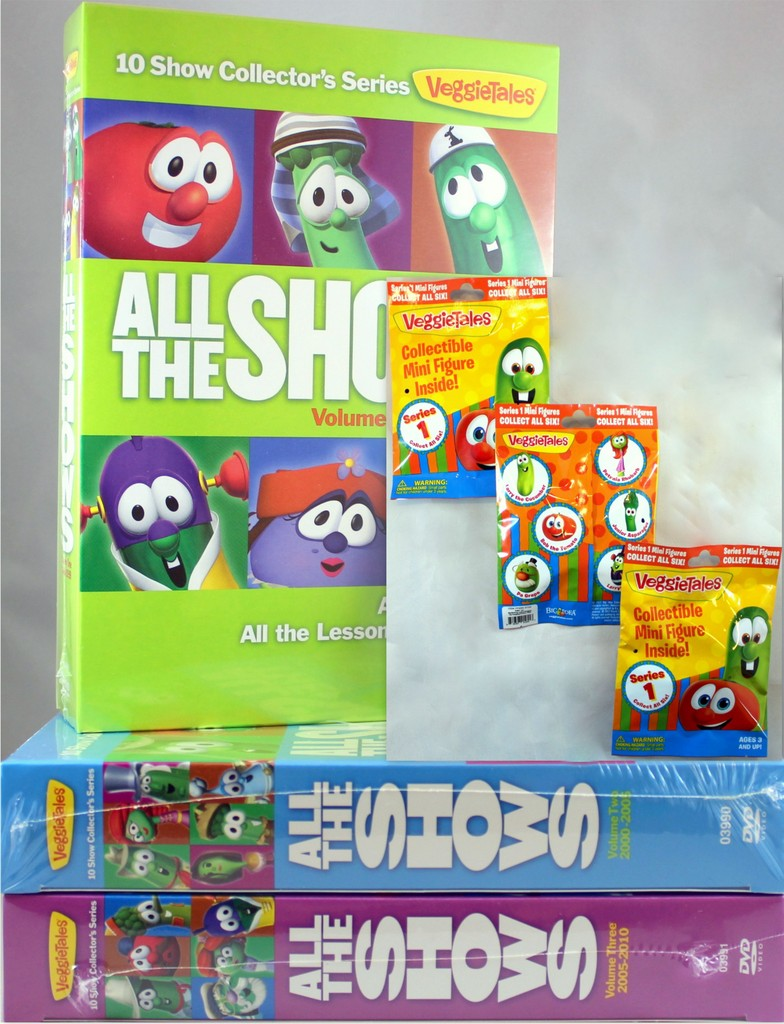 VeggieTales Vol 1-3 All Shows New DVDs & 3 SET Collectible Mini Figures Mystery by