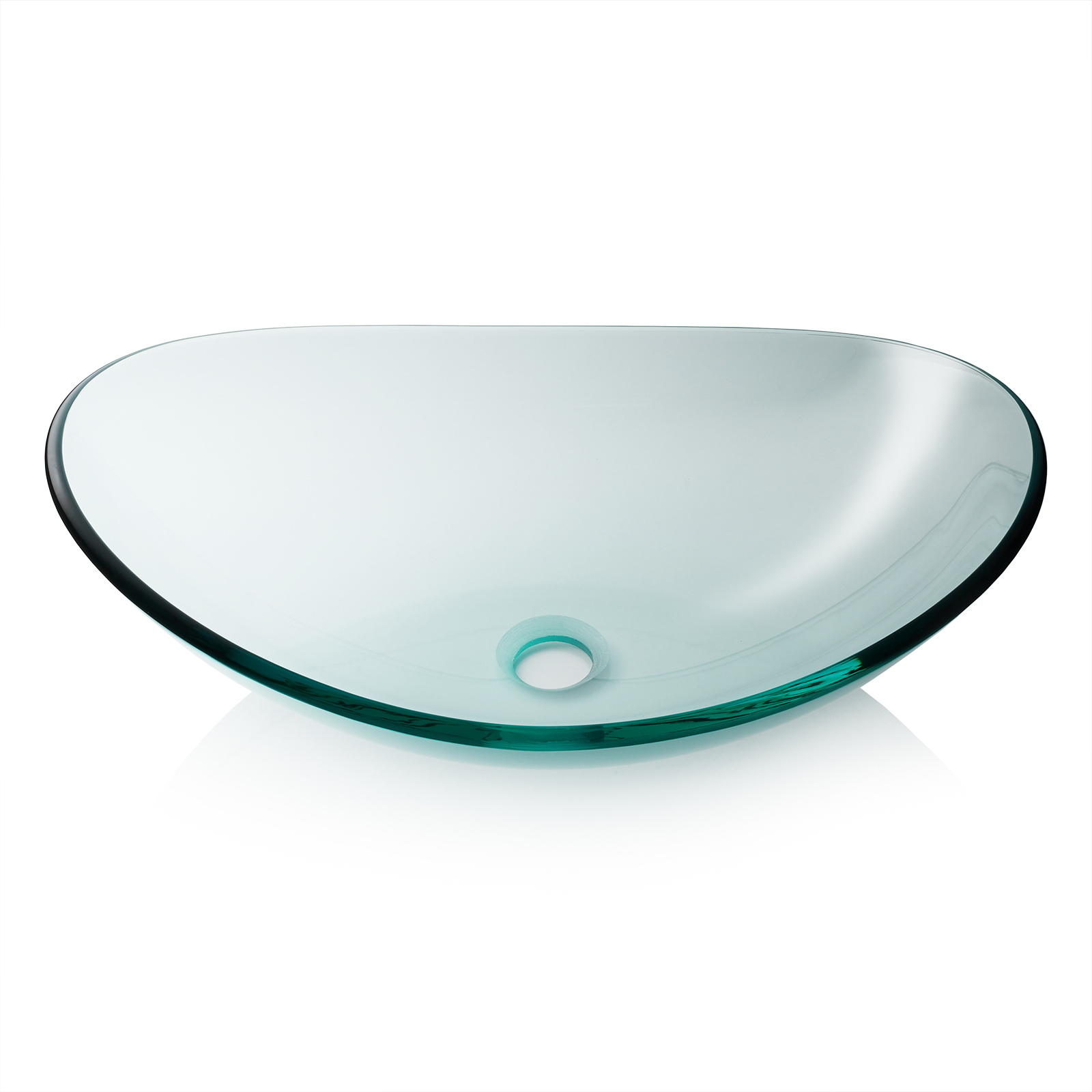 Miligore Modern Glass Vessel Sink   Above Counter Bathroom Vanity Basin  Bowl   Oval Boat Clear