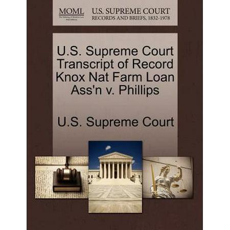 U.S. Supreme Court Transcript of Record Knox Nat Farm Loan Ass'n V.