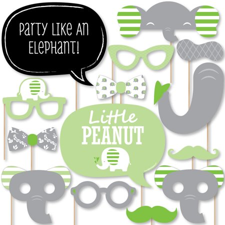Green Elephant - Baby Shower or Birthday Party Photo Booth Props Kit - 20 Count