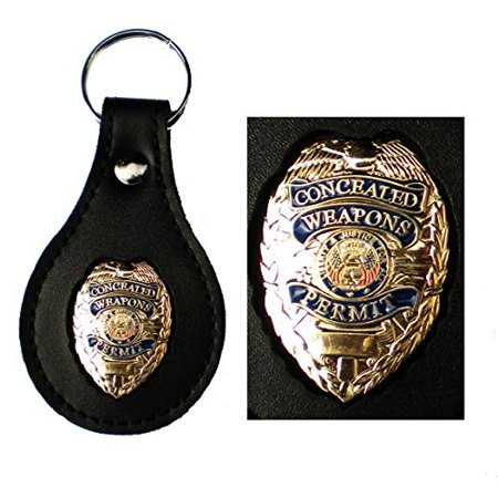 Gold Concealed Weapons Permit Metal Badge Leather Key FOB Smart Keychain Keyring Ring Chain