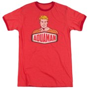 Dco Aquaman Sign Mens Adult Heather Ringer Shirt