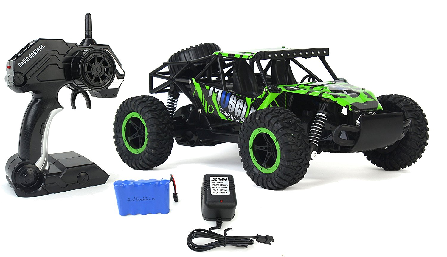 Cross Country Speed Racing Slayer Remote Control Toy Green Rally Buggy RC Car 2.4 GHz 1:16 Scale Size w ... by Velocity Toys