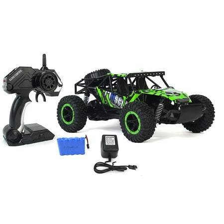 (Cross Country Speed Racing Slayer Remote Control Toy Green Rally Buggy RC Car 2.4 GHz 1:16 Scale Size w/ Working Suspension, Spring Shock Absorbers)