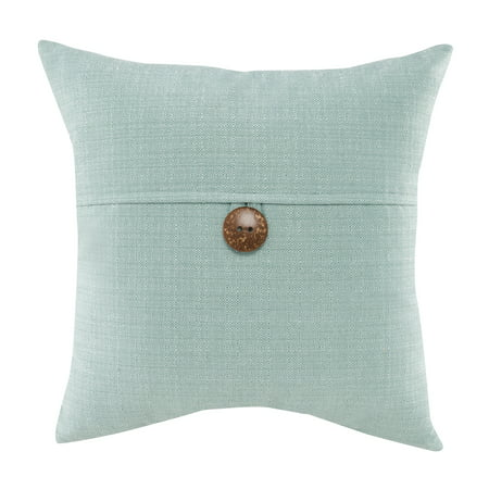 "Mainstays Dynasty Coconut Button Accent Decorative Throw Pillow, 18"" x 18"", Turquoise"