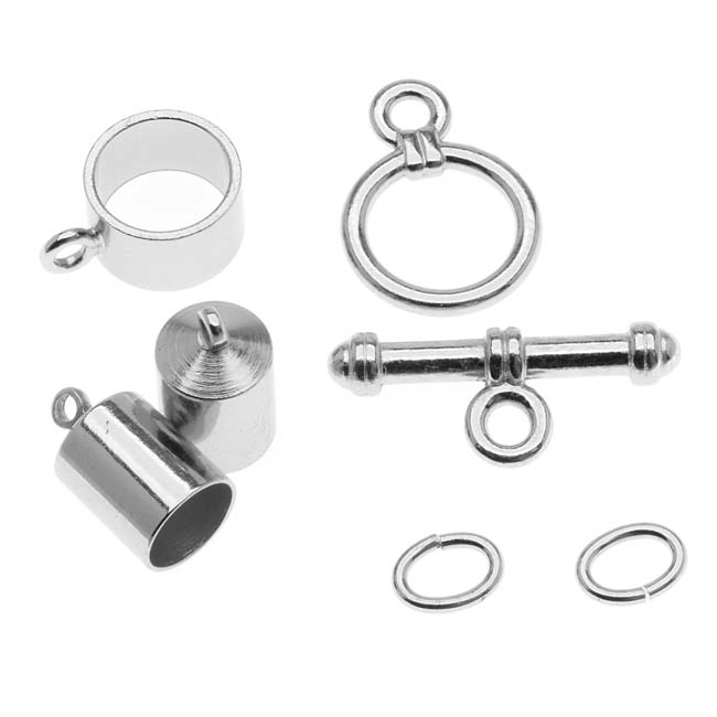 BeadSmith Silver Plated Barrel Findings Kit For Kumihimo Braids -Fits 6.5mm Cord
